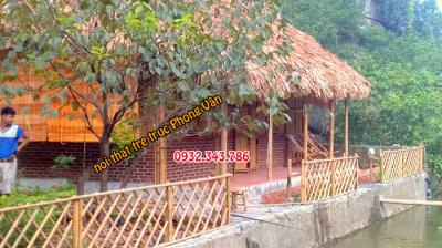 Thi công nhà mái lá kết hợp nội thất tre trúc tại Tràng An- Ninh Bình